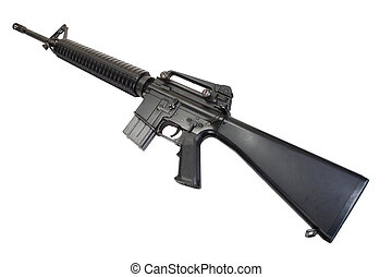 US Army service rifle M16 rifle isolated on a white...