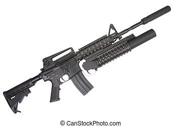 lançador, carbine, m4a1, silenciador, equipado, m203,...