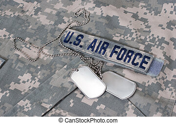 us air force camouflaged uniform with blank dog tags