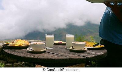 Organic delicious breakfast at himalayas mountain, nepal