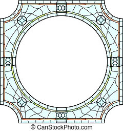 Stained-glass window frame. - Vector square stained-glass...