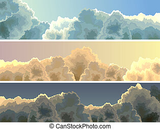 Banner of sunset, sky and clouds.