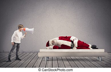 Wake up asleep Santa Claus - A child wake up asleep Santa...