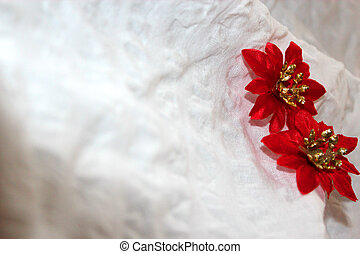 Flowers on a white background - Two artificial flowers star...