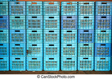 plastic crate - many colored blue plastic crate with olives...
