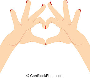 Woman Hands Love Heart - Illustration of woman hands making...