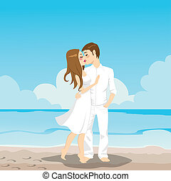 Couple Kissing On Beach - Sweet couple kissing and hugging...
