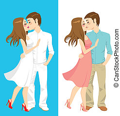 Kissing Couple Styles - Sweet couple kissing and hugging on...
