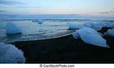 blue icebergs and beach - Blue icebergs floating in...
