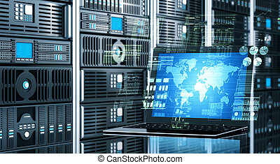 Internet server laptop - Visual concept of an internet...