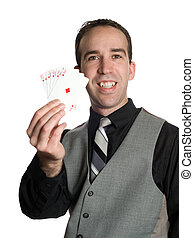 Winning Hand - Concept image of a successful businessman...
