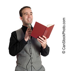 Preacher - A young preacher is reading something out of a...