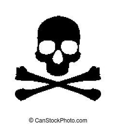 Pixel skull and bones