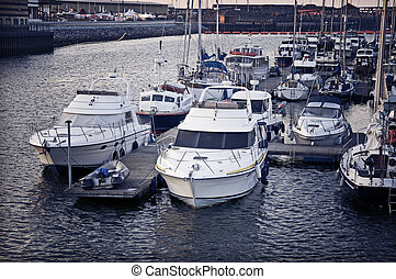 Swansea Ships - A close view of sail boats and motorboats at...