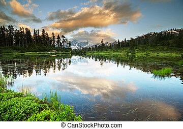 Picture lake - Picture Lake and Mount Shuksan,Washington