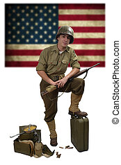 American soldier with his carbine M1 and M1 helmet