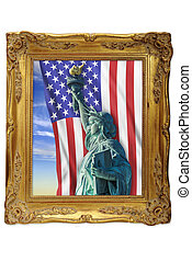 Stature of Liberty - Statue of liberty in a golden picture...