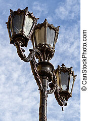 Old Street Light - Old Fashioned Street Light against a Blue...