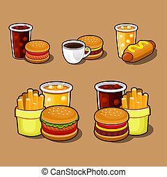 Set of colorful cartoon fast food icons. Isolated .