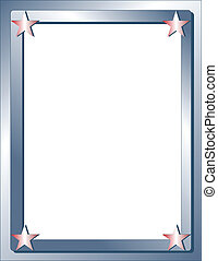 Patriotic Frame or Border - Red and muted blues frame with...