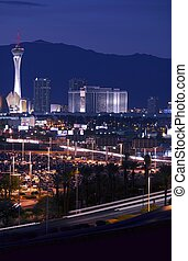 Las Vegas Downtown at Night. Vegas Strip. Las Vegas, Nevada,...