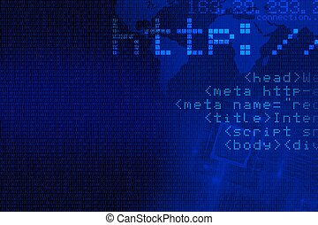 Internet Concept Background. Abstract Blue Internet...