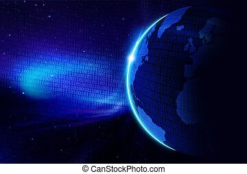 Digital World Cool Blue Background. Planet Earth and Digital...