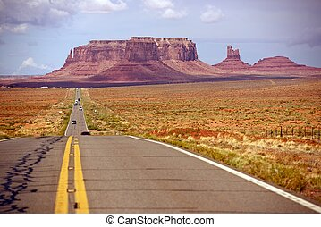 American Desert Highway / Road to Monuments Valley, Arizona,...
