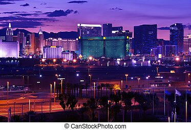 Las Vegas - Vages Strip at Night Panorama. Famous Cities...