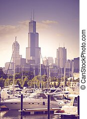 Yachts in the Harbor - Luxury Yachts in the Harbor. Chicago,...