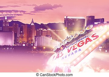 Shiny Las Vegas Background. Ultraviolet Vegas Background...