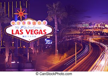 Streets of Vegas - Streets of Las Vegas. Sin City at Night....