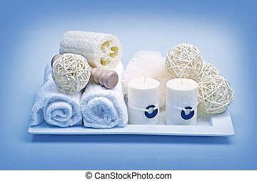 Bath Decoration & Relaxation Kit. Fresh Clean White Towels,...