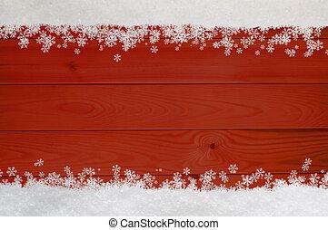 Christmas Snowflake Border on Red Wood - Christmas snow and...