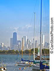 Lake Michigan, Boats and Chicago Skyline in the Background....