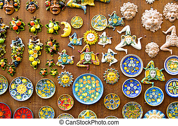 Sicilian tradition - Trinacria, plates and pottery typical...