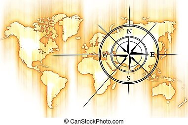 World and Compass Rose. Yellow-Orange Motion Blurred World...