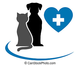 veterinarian icon with blue heart, pets and cross on white...