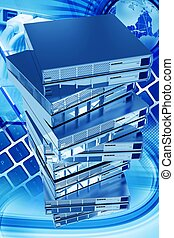 Global Networking Vertical 3D Rendered Illustration. Sixteen...