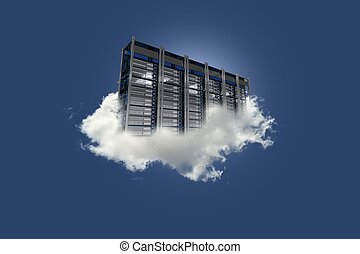 Cloud Server on the Sky. Cloud Data Center Floating on the...