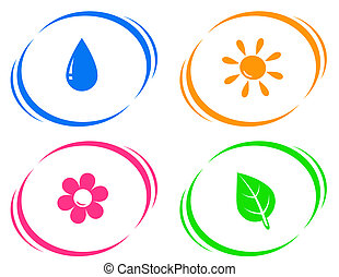 round icons with water drop, sun, flower and green leaf on...