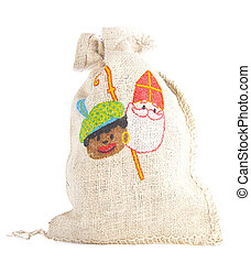 Bag with traditional Sint and Piet isolated on white...