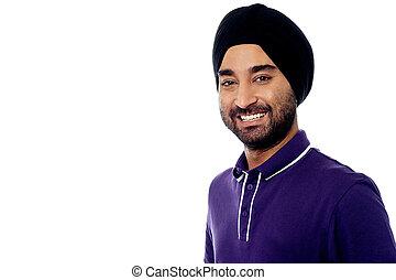 sonriente, joven, indio, macho, modelo