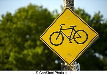 Bike Route Sign - Yellow Bike Route Street Sign - City of...