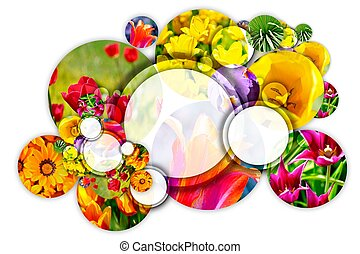Floral Concept Gardening Circle Cool Composition of Flowers...