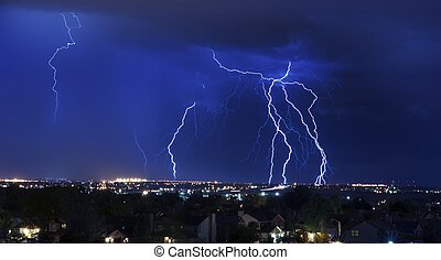 Lightning Storm Over South-West Colorado Springs, Colorado,...
