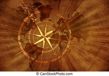 Grunge Old Map with Compass Rose. Damaged Retro Style Design...