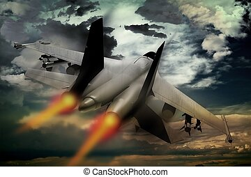 Fighter Jet - Flying Fighter Jet. Accelerating Fighter Jet...