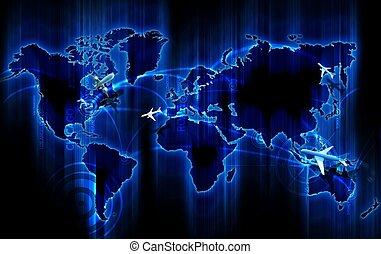 Air Ways World Wide Cool Glowing Blue World Map with Air...