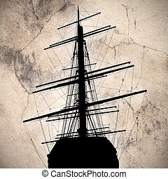 ship silhouette on a textured background